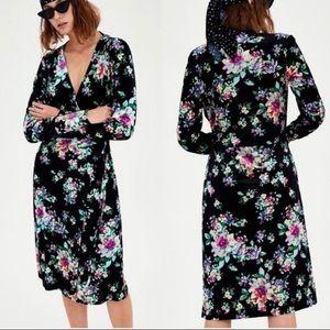 NWT Zara Floral Velvet Wrap Dress size S